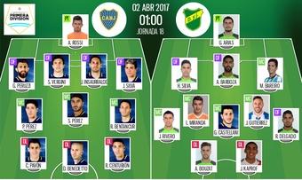 Alineaciones oficiales del Boca Juniors-Defensa y Justicia de la jornada 18. BeSoccer