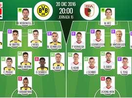 Alineaciones oficiales del Borussia Dortmund-Augsburgo de la Jornada 16 de la Bundesliga 16-17. BeSoccer