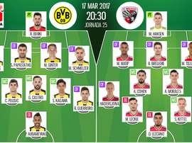Alineaciones oficiales del Borussia Dortmund-Ingolstadt, de la jornada 25 de la Bundesliga 16-17. Be