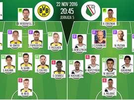 Alineaciones oficiales del Borussia Dortmund-Legia de la Champions League 16-17. BeSoccer