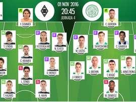 Alineaciones oficiales del Borussia Monchengladbach-Celtic de la Jornada 4 de Champions. BeSoccer