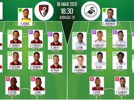 Alineaciones oficiales del Bournemouth-Swansea de la Jornada 29 de la Premier 2016-17. BS