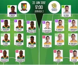 Alineaciones oficiales del Camerún-Australia de la jornada 2 de la Copa Confederaciones 2017. BS