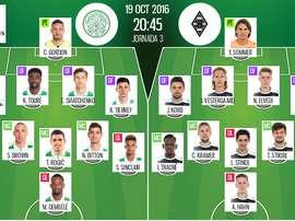 Alineaciones del Celtic-Borussia Mönchengladbach de la jornada 3 de la Champions 16-17. BeSoccer