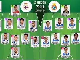 As escalações de Deportivo e Espanyol para este jogo. BeSoccer