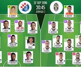 Alineaciones oficiales del Dinamo de Zagreb-Juventus de la jornada 2 de la Champions League. BeSoccer