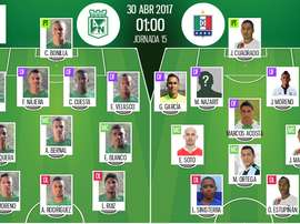 Alineaciones oficiales del Nacional-Once Caldas de la jornada 15 del Apertura de Colombia. BeSoccer