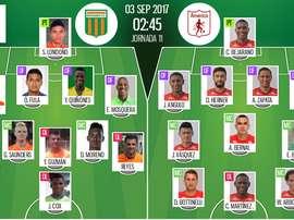 Alineaciones oficiales del Envigado-América de Cali del Clausura de Colombia 2017. BeSoccer