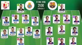 Os onzes de Espanyol e Barça para o desafio desta quarta-feira. BeSoccer