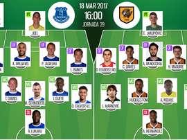 Alineaciones oficiales del Everton-Hull City de la jornada 29 de la Premier League 16-17. BeSoccer
