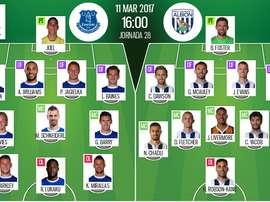 Alineaciones oficiales del Everton-WBA correspondiente a la 28 jornada de Premier. BeSoccer