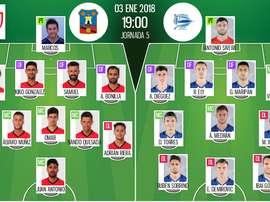 Alineaciones oficiales del Formentera-Alavés de la ida de octavos de Copa 2017-18. BeSoccer