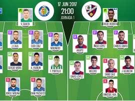 Alineaciones oficiales del Getafe-Huesca delos 'play offs' de Segunda 2016-17. BS