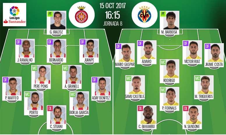 Les compos officielles du match de Liga entre Gérone et Villarreal du 15-10-2017. BeSoccer