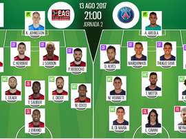 Official lineups for the Ligue 1 clash between Guingamp and PSG. BeSoccer