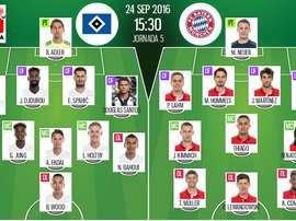 Alineaciones oficiales del Hamburgo y Bayern de Múnich, del partido correspondiente a la jornada 5 de la Bundesliga. BeSoccer