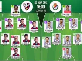 Alineaciones oficiales del Huesca-Valladolid de la jornada 28 de Segunda División 2016-17. BeSoccer