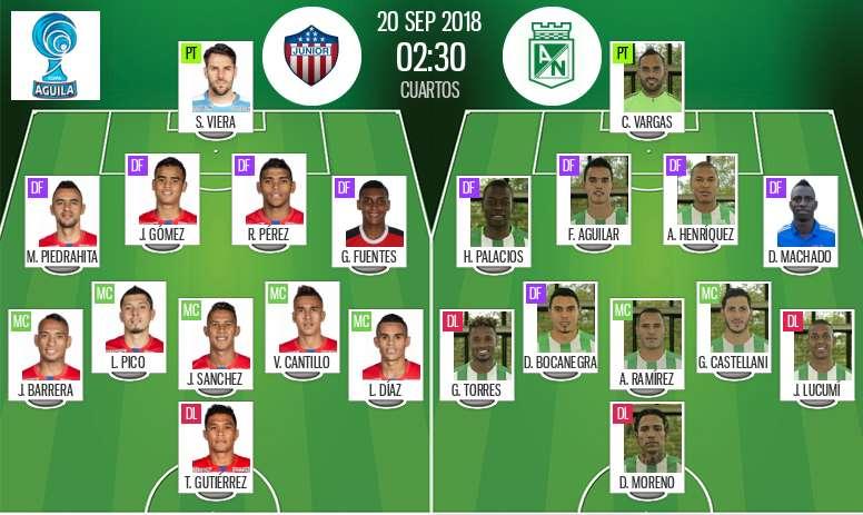 Onces oficiales del Junior-Atlético Nacional, partido de vuelta de cuartos de la Copa Colombia. BS