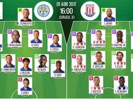 Alineaciones oficiales del Leicester-Stoke correspondiente a la Jornada 30. BeSoccer