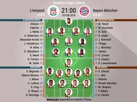Formazioni ufficiali Liverpool-Bayern Monaco. BeSoccer
