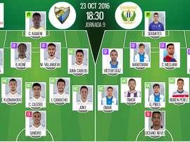 Alineaciones oficiales del Málaga-Leganés de la jornada 9 de LaLiga 16-17. BeSoccer