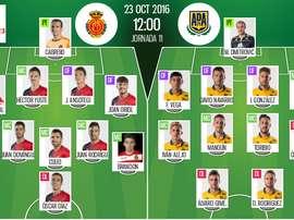 Alineaciones oficiales del Mallorca-Alcorcón de la jornada 11 de Segunda División 16-17. BeSoccer