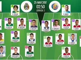 Onces del México-Costa Rica de la fase de clasificación de CONCACAF para el Mundial 2018. BeSoccer