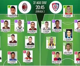 Alineaciones oficiales del Milan-Cagliari de la segunda jornada de la Serie A 2017-18. BeSoccer