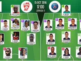 Alineaciones oficiales del Nancy-PSG de la jornada 9 de la Ligue 1 16-17. BeSoccer
