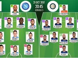 Escalações oficiais de Napoli e Inter de Milão. BeSoccer