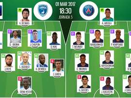 Alineaciones oficiales del Niort-PSG de los octavos de final de la Copa Francia. BeSoccer