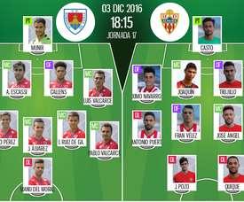Alineaciones oficiales del Numancia-Almería de la Jornada 17 de Segunda División 16-17. BeSoccer