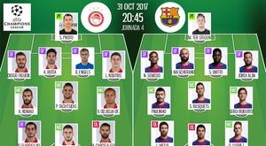 Les compos officielles du match de Ligue des champions entre l'Olympiakos et Barcelone. BeSoccer