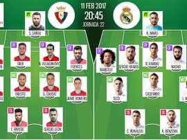 Osasuna vs. Real Madrid starting line-ups. BeSoccer