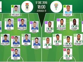 Onces oficiales del Oviedo-Córdoba de la jornada 19 de la Segunda División 16-17. BeSoccer