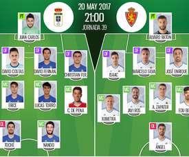 Alineaciones oficiales del Oviedo-Zaragoza de la jornada 39 de Segunda División 16-17. BeSoccer