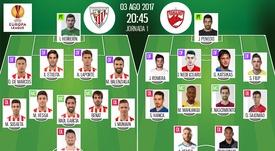 Alineaciones oficiales del Athletic y el Dinamo. BeSoccer