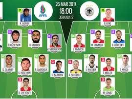 Alineaciones oficiales del partido entre Azerbaiyán y Alemania de la jornada 5. BeSoccer