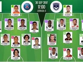 Alineaciones oficiales del PSG-Girondins de Bordeaux de la octava jornada de la Ligue 1. BeSoccer