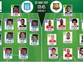 Alineaciones oficiales del Racing-Rionegro de la CONMEBOL Sudamericana 2017. BeSoccer