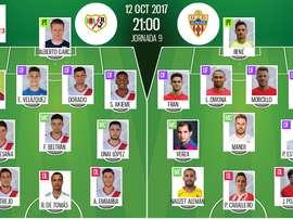 Alineaciones oficiales del Rayo-Almería de la novena jornada de Segunda División 17-18. BeSoccer