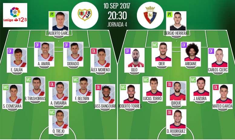 Alineaciones oficiales del Rayo-Osasuna de Segunda 2017-18. BeSoccer