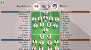 Alineaciones oficiales del Rayo-Atlético correspondientes a la Jornada 24 de Liga. BeSoccer