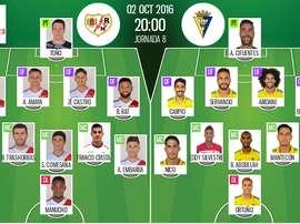 Alineaciones oficiales del Rayo Vallecano-Cádiz de la jornada 8 de la Segunda División 2016-17. BeSoccer