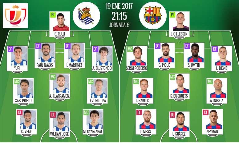 Alineaciones oficiales del Real Sociedad-Barcelona de la ida de los cuartos de la Copa del Rey. BeSoccer