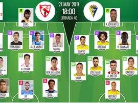 Alineaciones oficiales del Sevilla Atlético-Cádiz de la jornada 40 de Segunda 16-17. BS