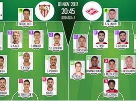 Alineaciones oficiales del Sevilla-Spartak de la jornada 4 de la Champions League 2017-18. BeSoccer