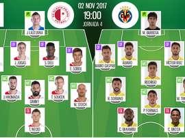 Alineaciones oficiales del Slavia-Villarreal de la jornada 4 de la Europa League 2017-18. BS