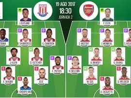 Escalações de Stoke e Arsenal. BeSoccer