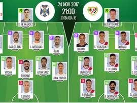 Alineaciones oficiales del Tenerife-Rayo de Segunda División 2017-18. BeSoccer